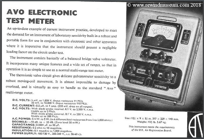 AVO type 4 valve multimeter advert.