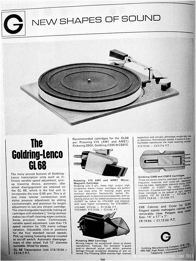 HiFi News. August 1965. Goldring Lenco GL68
