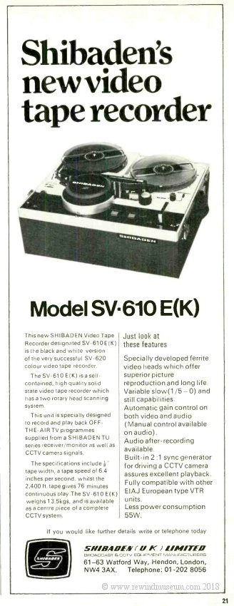 Shibaden SV- 610E reel to reel video recorder advert