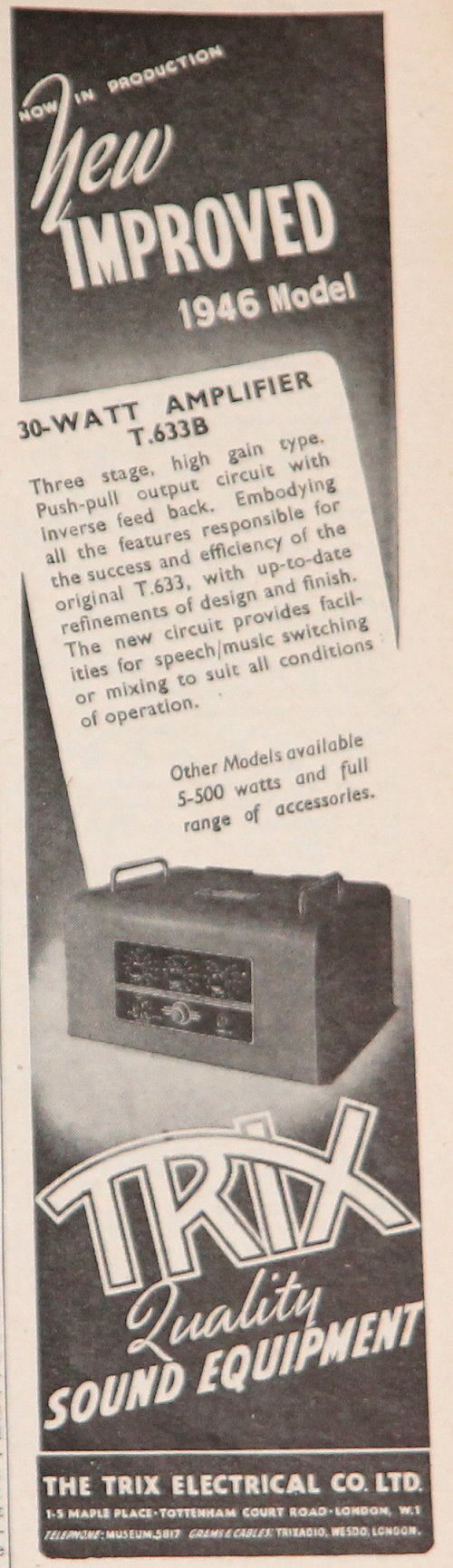 Vintage Hi Fi Museum Quad 22 And 202 Valve Amplifier Leak Rogers How To Build Speach 1946 Trix T633b Advert